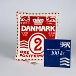 特别装 波浪线百年纪念和1个设计师手工制作珍藏家装靠枕  红色  配 2丹麦便士邮票